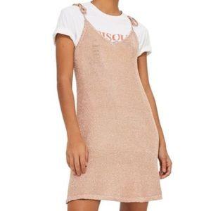 Rose Gold Metallic Slip Dress